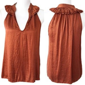 Ella Moss Burnt Orange & Gold Silk Top
